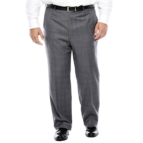 Stafford® Gray Glen Check Flat-Front Wool Suit Pants - Portly