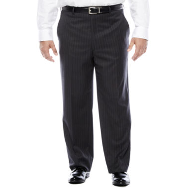 jcpenney.com | Stafford® Super 100 Charcoal Chalk-Stripe Flat-Front Wool Suit Pants - Portly