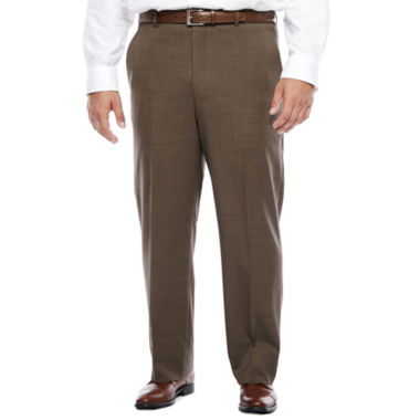 jcpenney.com | Stafford® Travel Brown Sharkskin Flat-Front Pant-Big and Tall
