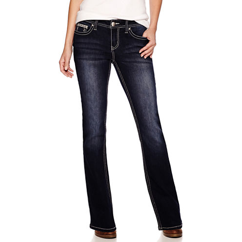 Love Indigo Embellished-Pocket Jeans - Petite