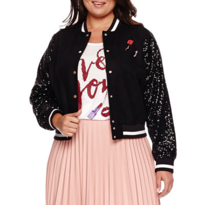 Ashley Nell Tipton for Boutique+ Sequin-Sleeve Bomber Jacket - Plus