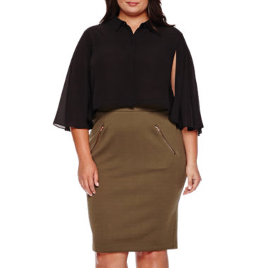 jcpenney.com | Ashley Nell Tipton for Boutique+ Cropped Long-Sleeve Button Down Shirt or Antique Quilted Pencil Skirt - Plus