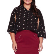 Ashley Nell Tipton for Boutique+ Cropped Long-Sleeve Button-Down Shirt - Plus