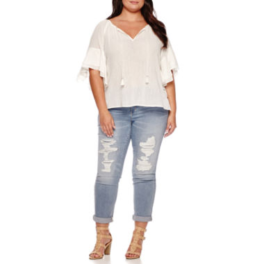 jcpenney.com | Boutique+ Ruffle-Sleeve Textured Blouse or Destructed Boyfriend Jeans - Plus
