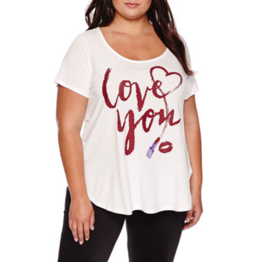 jcpenney.com | Ashley Nell Tipton for Boutique+ Short-Sleeve Graphic Boyfriend Tee - Plus