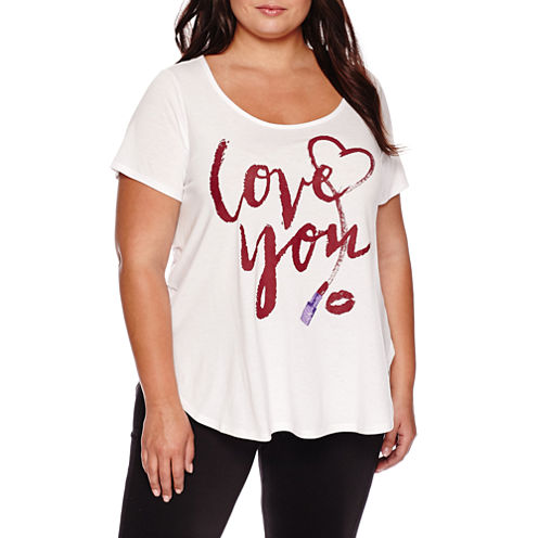Ashley Nell Tipton for Boutique+ Short-Sleeve Graphic Boyfriend Tee - Plus