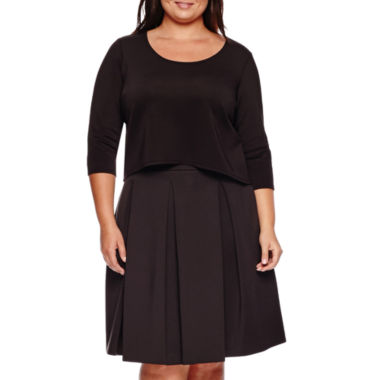 jcpenney.com | Ashley Nell Tipton for Boutique+ 3/4-Sleeve Scuba Crop Top or Box Pleat Skirt - Plus