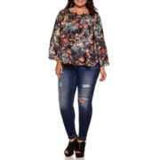 Boutique+™ Long-Sleeve Lace-Up Peasant Blouse or 5-Pocket Skinny Jeans - Plus