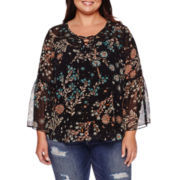 Boutique+™ Long-Sleeve Lace-Up Peasant Blouse - Plus