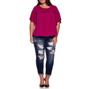 jcpenney.com | Boutique+ Elbow-Sleeve Knit Top or Embroidered Destructed Skinny Jeans - Plus