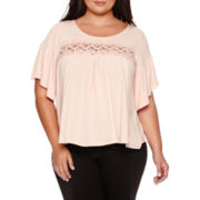 Boutique+™ Elbow-Sleeve Lace-Yoke Knit Top