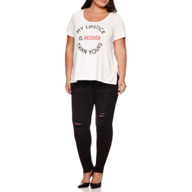 jcpenney.com | Boutique+ Short-Sleeve Stair Step Graphic Tee or 5-Pocket Skinny Jeans - Plus