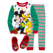 Disney Collections Moana Pajama Set, Mickey Mouse Pajama Set and Slippers - Boys
