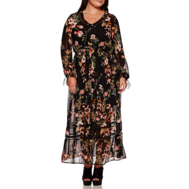 jcpenney.com | BELLE + SKY™ Long-Sleeve Boho Maxi Dress - Plus