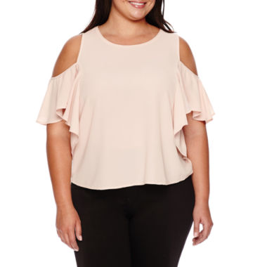jcpenney.com | BELLE + SKY™ Short-Sleeve Mixed Media Ruffled Cold-Shoulder Top
