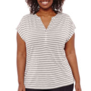 Liz Claiborne® Short-Sleeve Extended Henley Tee - Plus