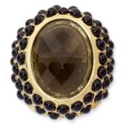 Aris by Treska Gold-Tone Brown Stone Ring