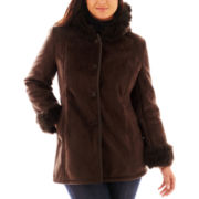 Excelled Leather Hooded Faux-Shearling Coat - Plus