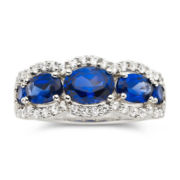Lab-Created Blue & White Sapphire Band Ring