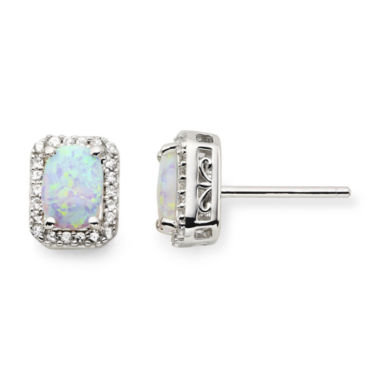 jcpenney.com | Lab-Created Opal & White Sapphire Stud Earrings