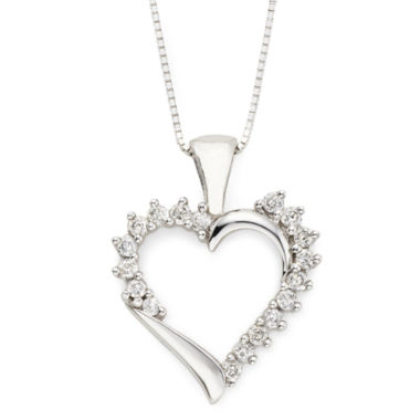jcpenney.com | ¼ CT. T.W. Diamond Heart 10K White Gold Pendant Necklace