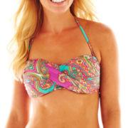 Ocean Avenue Paisley Print Twist-Front Bandeau Swim Top