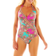 Ocean Avenue Paisley Print Halterkini Swim Top