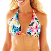 Ocean Avenue Floral Print Halter Swim Top