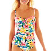 Ocean Avenue Floral Print Twist-Front Bandeaukini Swim Top