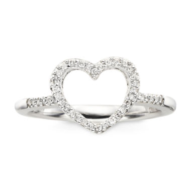 jcpenney.com | 1/10 CT. T.W. Diamond Sterling Silver Mini Heart Ring