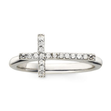 jcpenney.com | 1/10 CT. T.W. Diamond Sterling Silver Mini Sideways Cross Ring