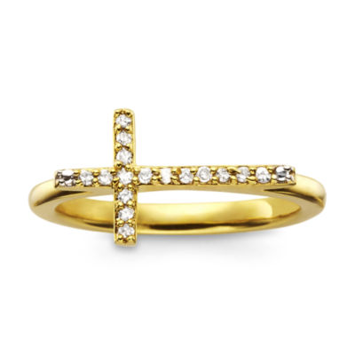 1/10 CT. T.W. Diamond 14K Gold Mini Sideways Cross Ring