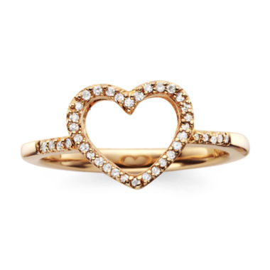 jcpenney.com | 1/10 CT. T.W. Diamond14K Rose Gold-Plated Mini Heart Ring