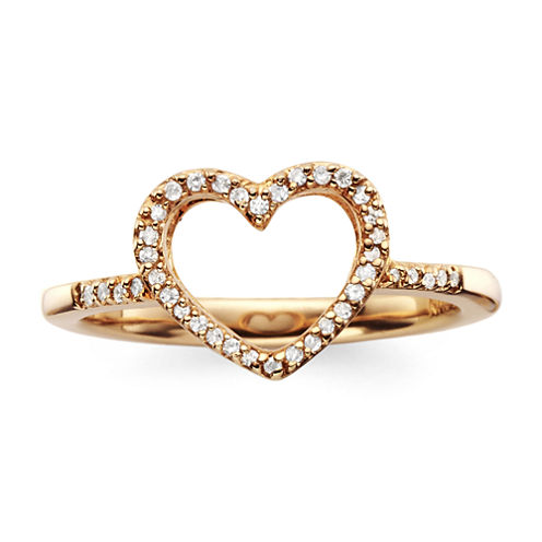 1/10 CT. T.W. Diamond14K Rose Gold-Plated Mini Heart Ring