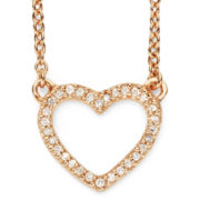 1/10 CT. T.W. Diamond 14K Rose Gold-Plated Mini Heart Pendant Necklace