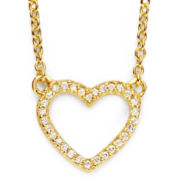1/10 CT. T.W. Diamond 14K Gold-Plated Mini Heart Pendant Necklace