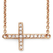 1/10 CT. T.W. Diamond 14K Rose Gold-Plated Mini Sideways Cross Pendant