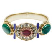 ZOË + SYD Green Malachite & Multicolor Crystal Floral Station Bangle