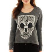 Skull Appliqué Pullover Top