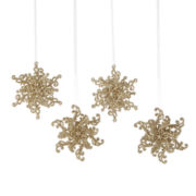 North Pole Trading Co. White Frost Set of 4 Glitter Snowflake Ornaments