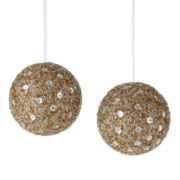 North Pole Trading Co. White Frost Set of 2 Beaded Ball Ornaments