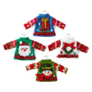 North Pole Trading Co. Set of 4 Ugly Knit Sweater Ornaments