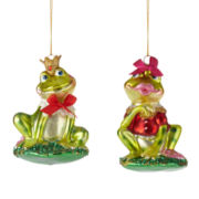 North Pole Trading Co. Set of 2 Flirting Frogs Ornaments