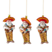 North Pole Trading Co. Set of 3 Santa Ornaments