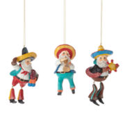 North Pole Trading Co. Set of 3 Santa Dangle Ornaments