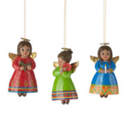 North Pole Trading Co. Set of 3 Angel Ornaments