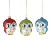 North Pole Trading Co. Set of 3 Owl Ornaments