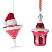 North Pole Trading Co. Set of 2 Martini/Champagne Ornaments