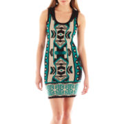 Take Out Sleeveless Aztec Print Sweater Dress