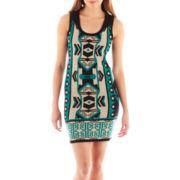 Takeout Sleeveless Aztec Print Sweater Dress
